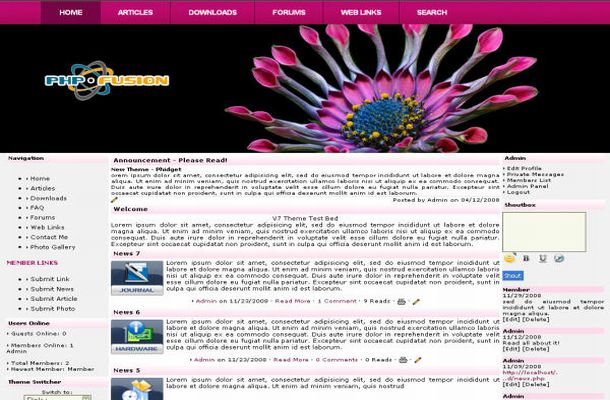 Free Pink Black Floral Php-fusion Theme Template