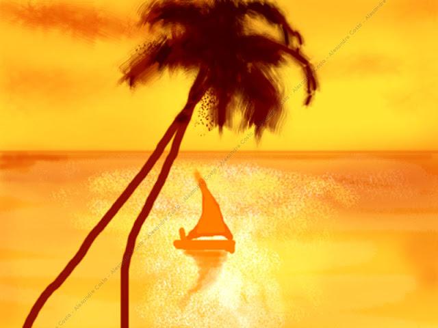 Pintura digital com barco e coqueiros