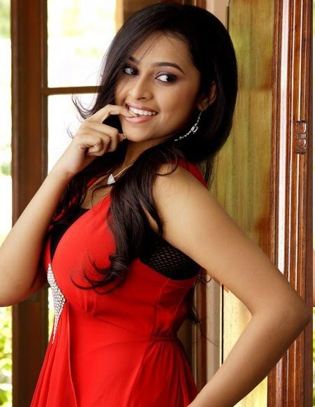 sri divya in cute red dress new photo actresshdwallpapers