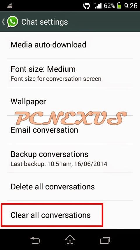 whatsapp clear conversations