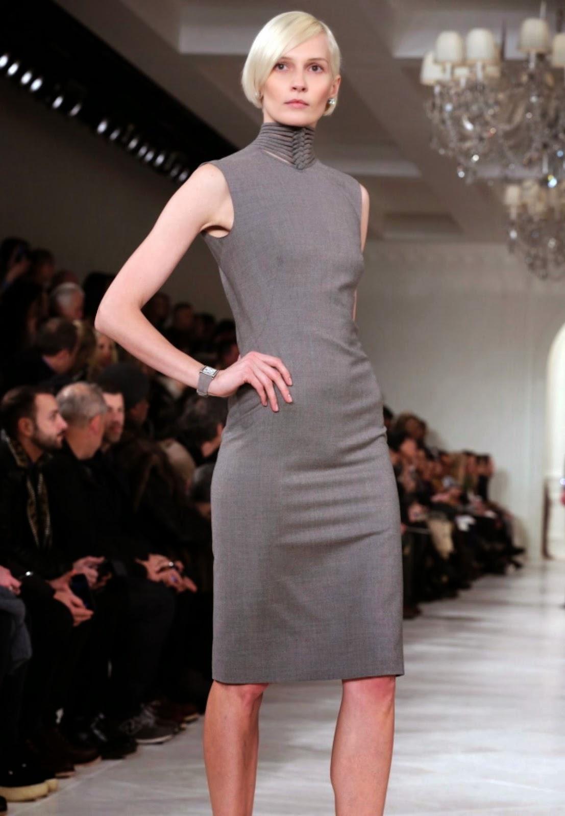 jurk Ralph Lauren prachtig bij het lichtblonde kapsel winter 2015