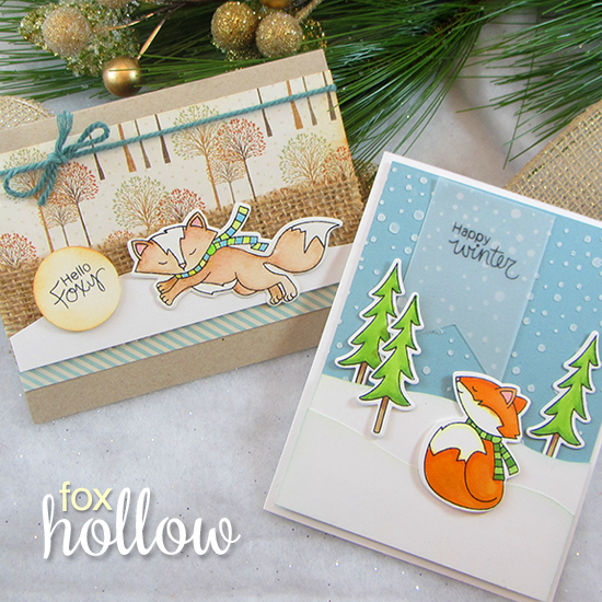 Fox Fall & Winter Cards by Jennifer Jackson | Fox Hollow Stamp set & Die Set by Newton's Nook Designs #newtonsnook #fox