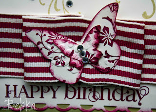 Rich Razzleberry Wide Striped Ribbon & Butterflies Detail