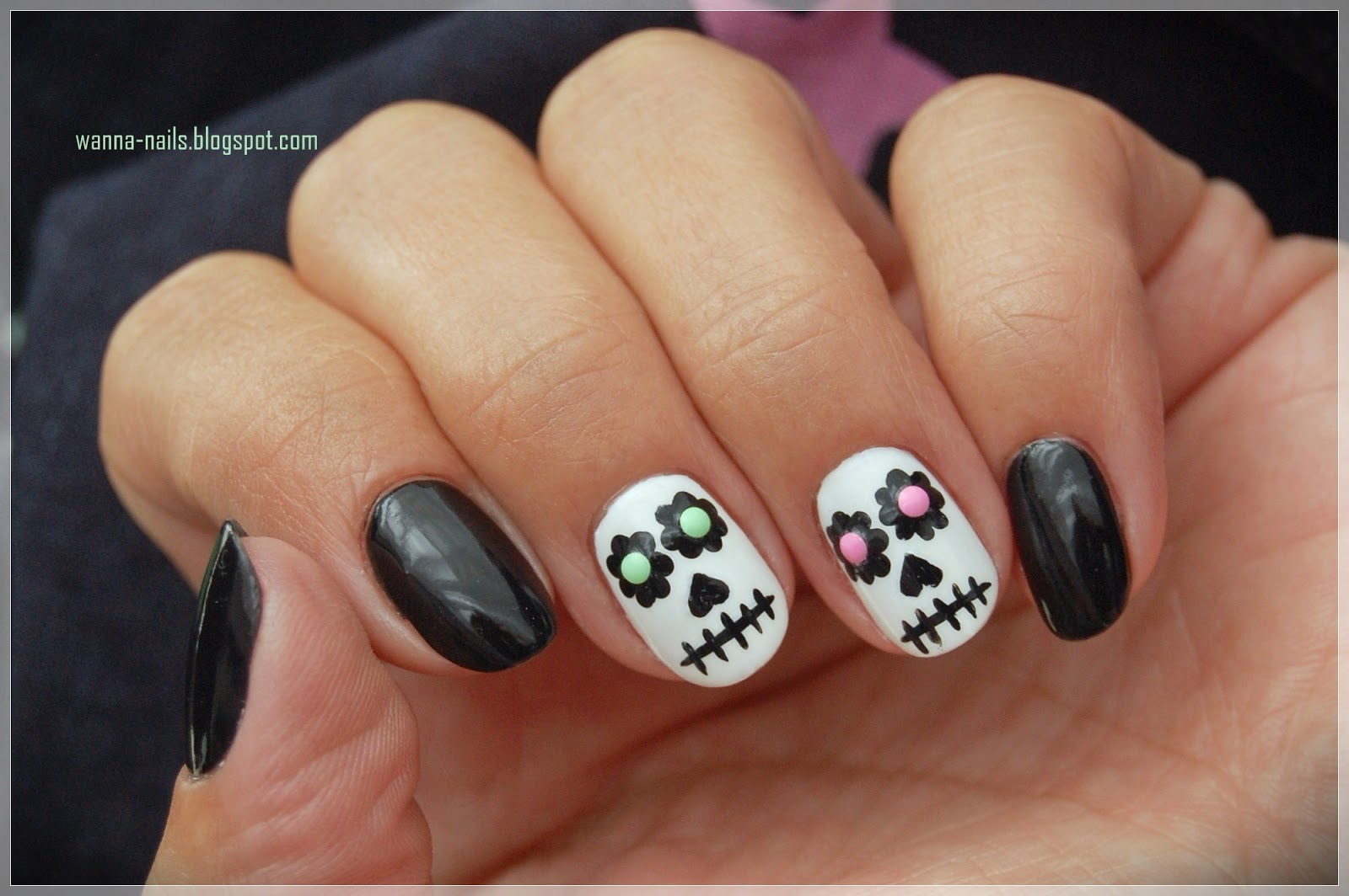 Sugar skulls wanna see my nails nail art challenge is the letter s and i chose to create this sugar skulls manicure i wanted something that was easy to do but at the same time prinsesfo Image collections