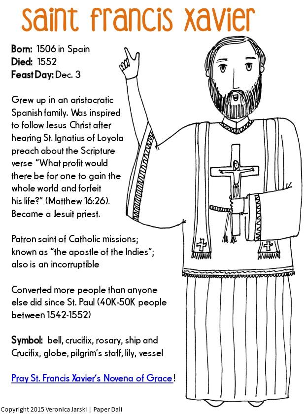 Paper Dali: Free Saint Francis Xavier Coloring Page