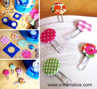 diy marque page badge en tissu diy paper clip bookmark creamalice do it yourself. Black Bedroom Furniture Sets. Home Design Ideas