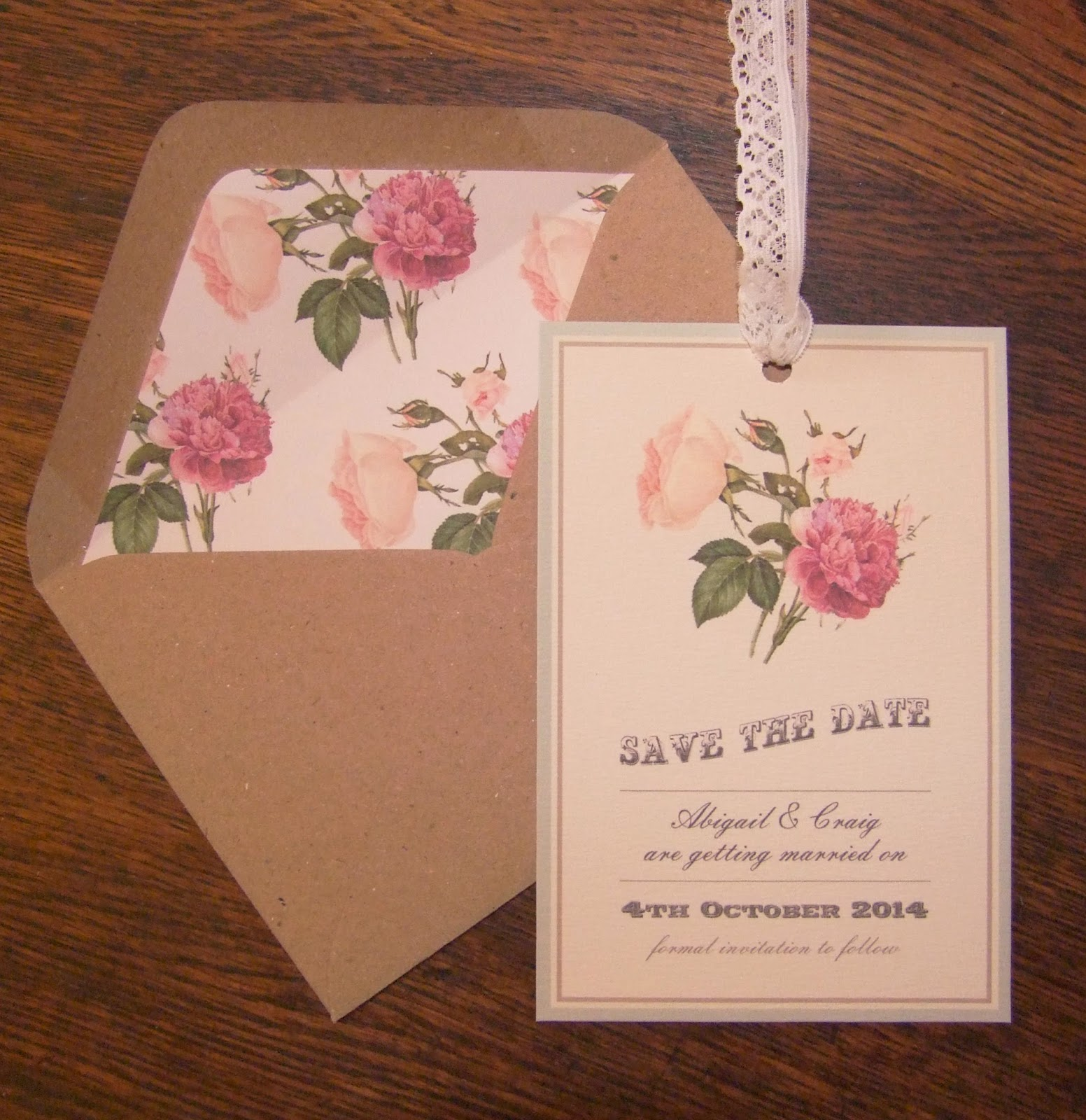 Knots And Kisses Wedding Stationery Vintage Floral Botanical Style Save The Date Cards
