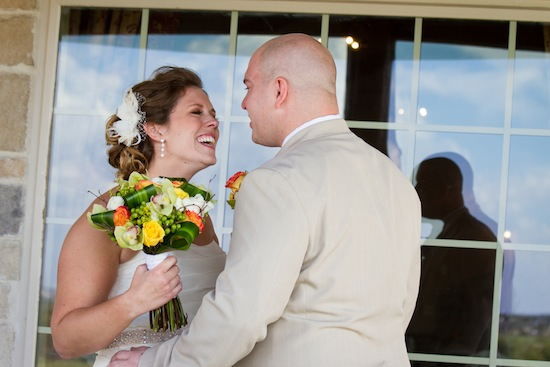the bride smiling sweetly at the groom
