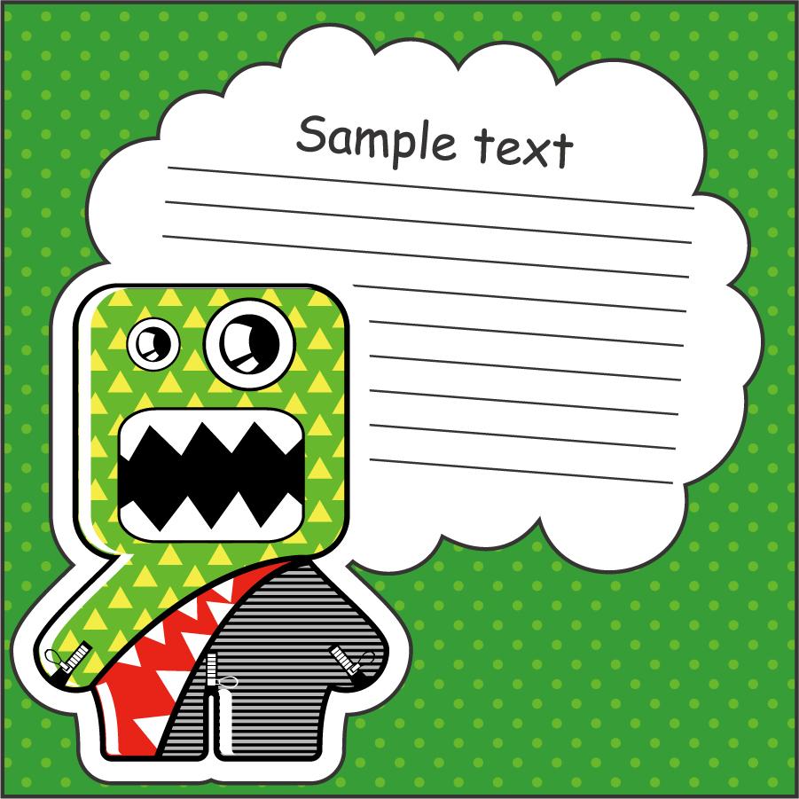 可愛い怪物を描いたメモ用紙のテンプレートCartoon monster with message cloud vector  イラスト素材