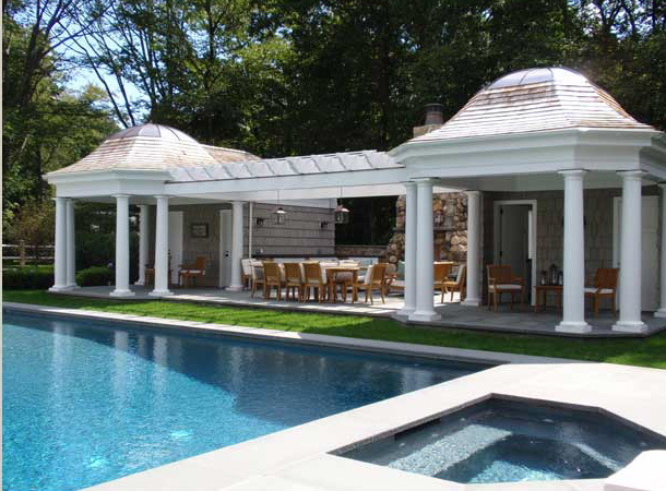 Swimmingly beautiful pool houses the enchanted home for Outdoor pool house designs