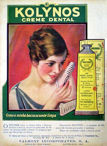 Propaganda do Kolynos nos anos 30 (Dentifrício)