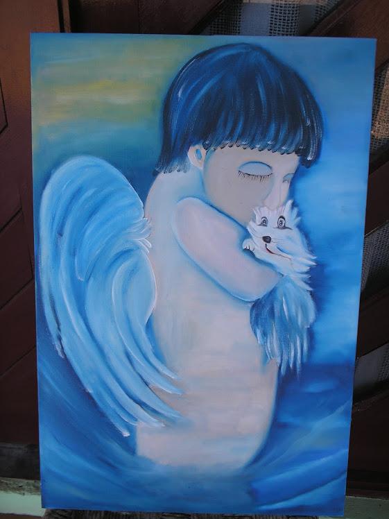Tela-anjo azul