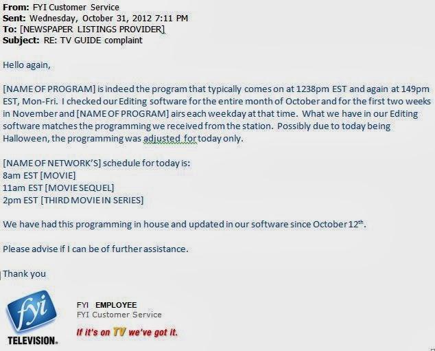 response to network regarding program information