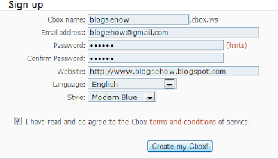 Cbox signup Form