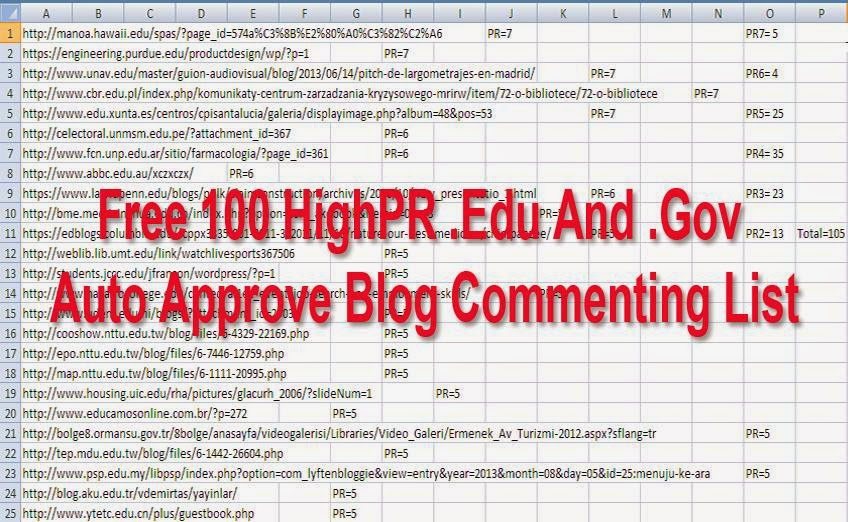 .Edu .Gov Auto Approve Blog Commenting List