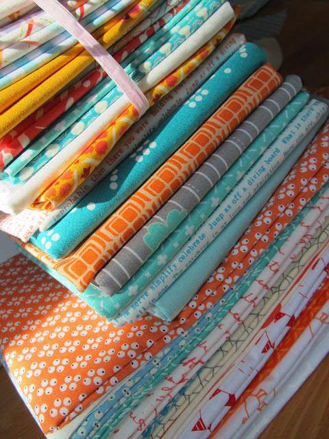 Orange, blue and love volume fabric