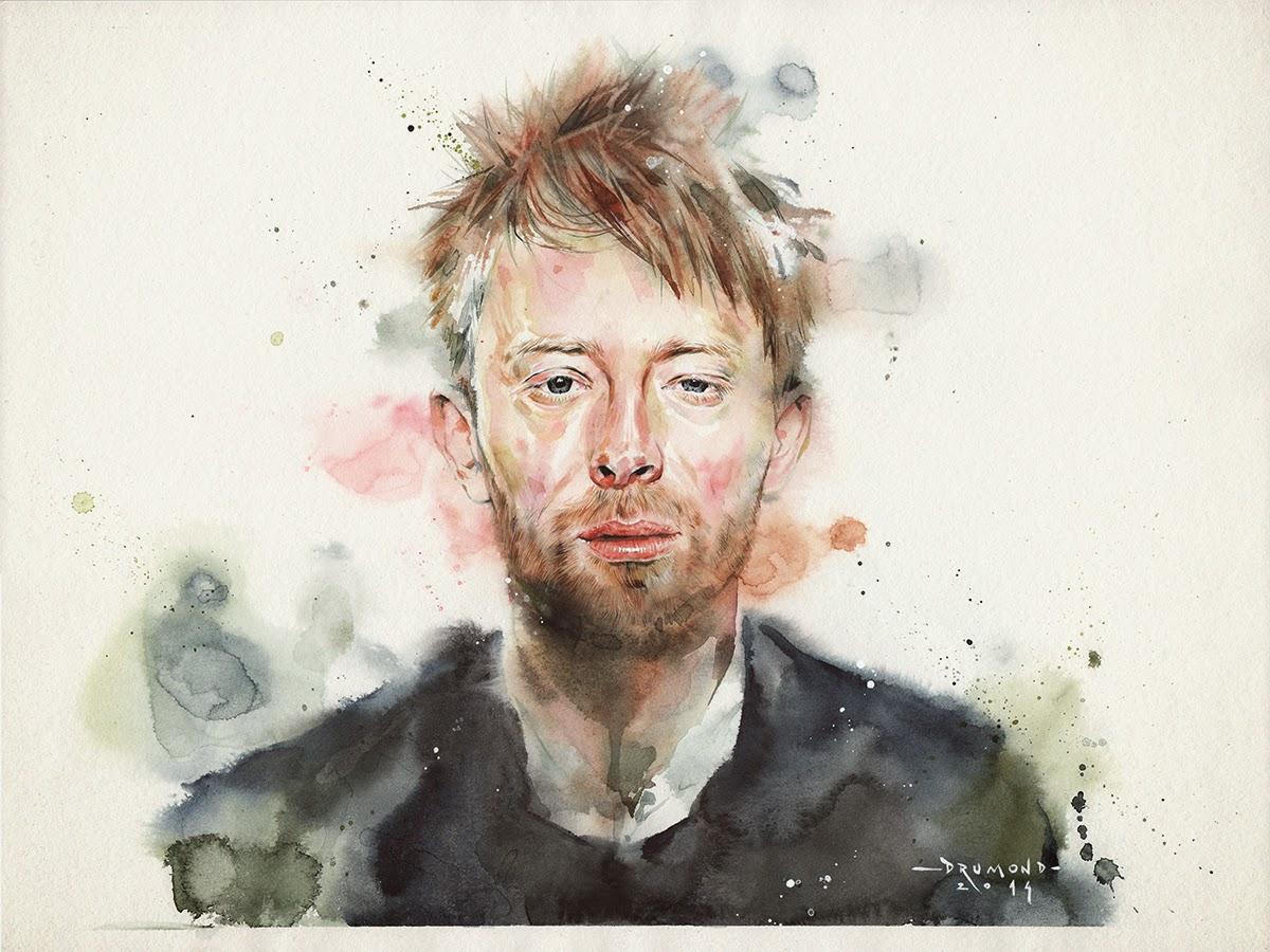 Ilustração Aquarela de Thom Yorke por Drumond