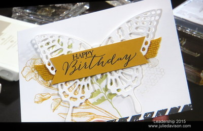 Stampin' Up! Butterfly Basics card demonstrated by Carrie Cudney at Leadership 2015 #stampinup #occasions