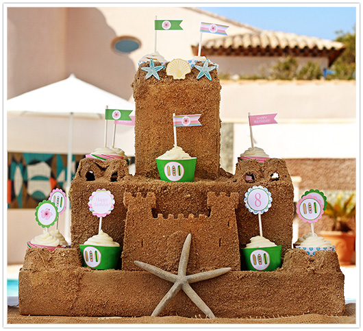 surf party sandcastle cupcake stand
