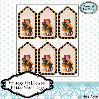 Free Vintage Halloween Kitty Sheet Tags by Whimsy Pop!