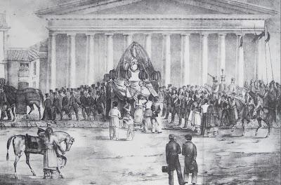 Los restos de Dorrego frente a la Catedral (1829), litografía del artista francés Arthur Onslow. Tomado de Pinacoteca Virtual Sanmartiniana, de don Jorge César Estol