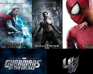 Thor: The Dark World, The Wolverine, Spider-Man 2, Guardians of the Galaxy, Transformers 4 upcoming movies
