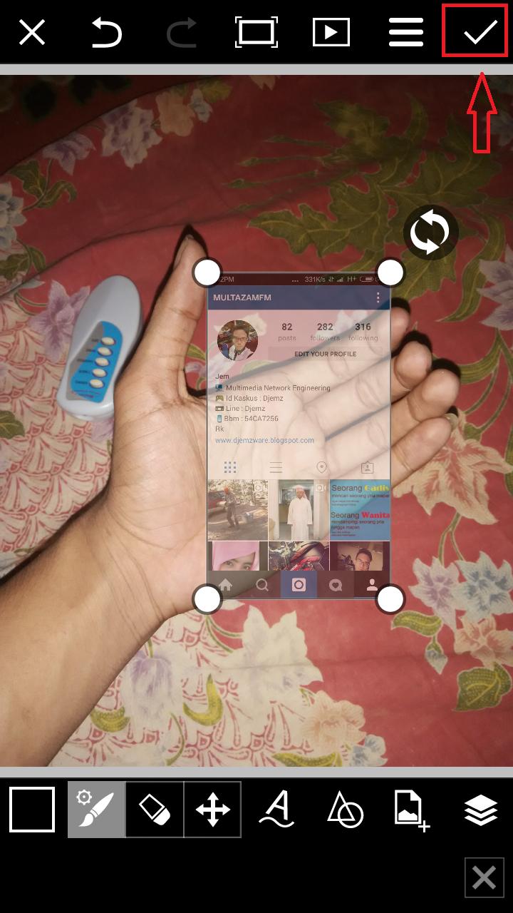 Cara membuat Instagram In Hand Opacity Transparasi Oke