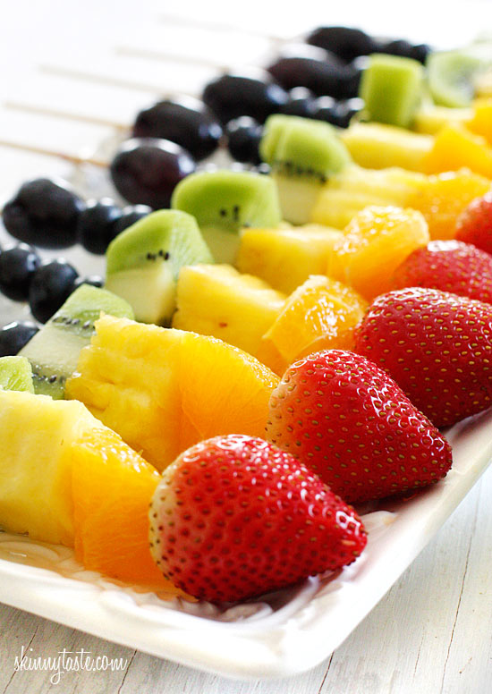 Rainbow Fruit Skewers with Yogurt Fruit Dip | Skinnytaste