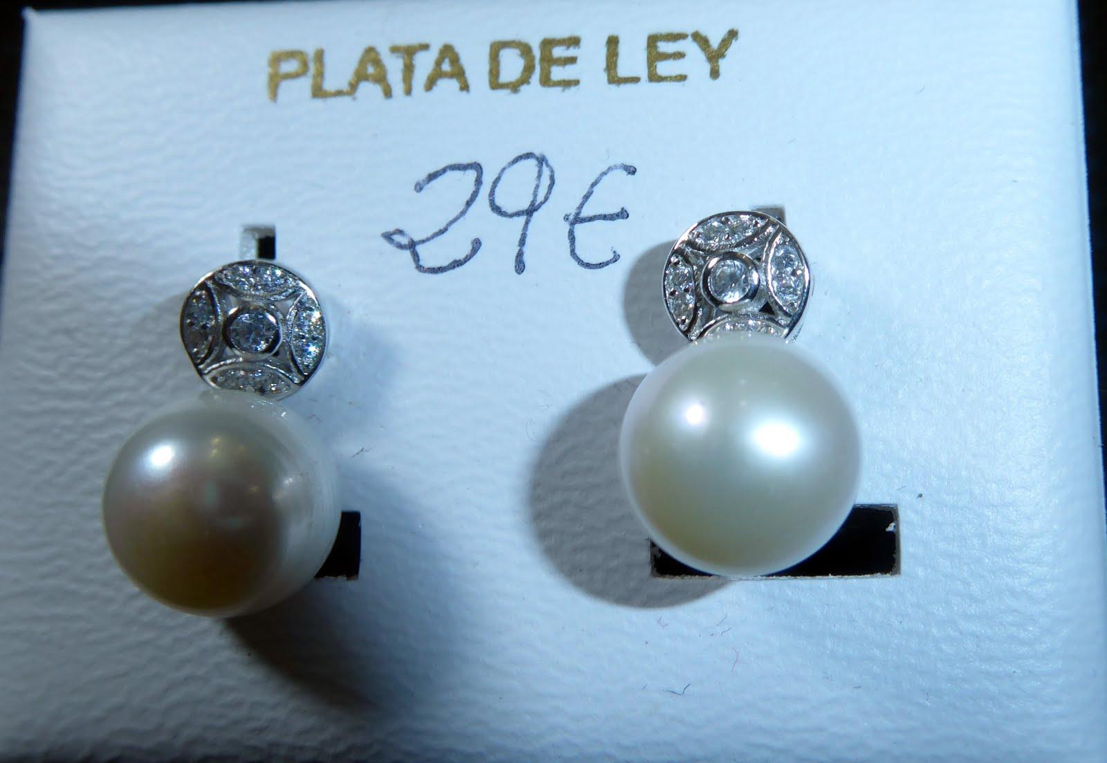 Pendientes de perla, plata y circonitas