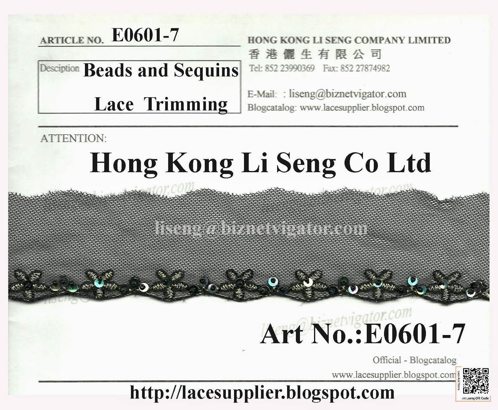 Beads and Sequins Lace Trimming Manufacturer - Hong Kong Li Seng Co Ltd