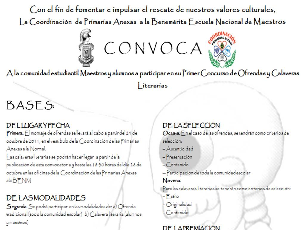 Coordinacion de primarias anexas benm convocatoria for Concurso para maestros