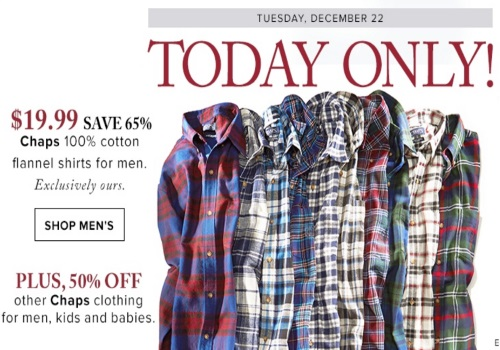Hudson's Bay Chaps Flannel Men's Shirts $19.99 + Long-Sleeve Knit Tees $12.99 + 50% Off Other Chaps Clothing