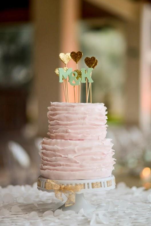 tarta nupcial de color rosa