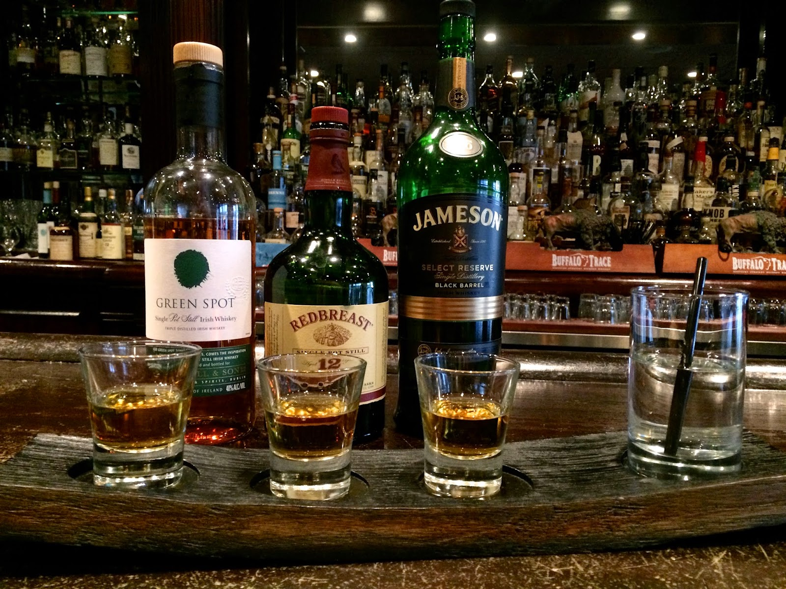 Irish Whiskey Flight featuring Green Spot, Redbreast 12 Year, and Jameson Black Barrel at Lock & Key $18