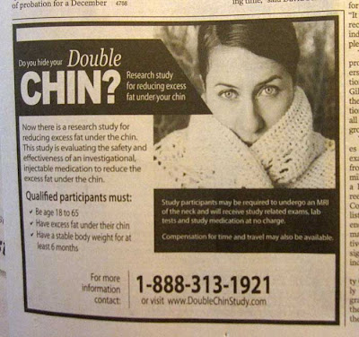 Black and white newspaper ad for a study about double chins, showing a photo of a thin-faced woman hiding her chin with a sweater collar
