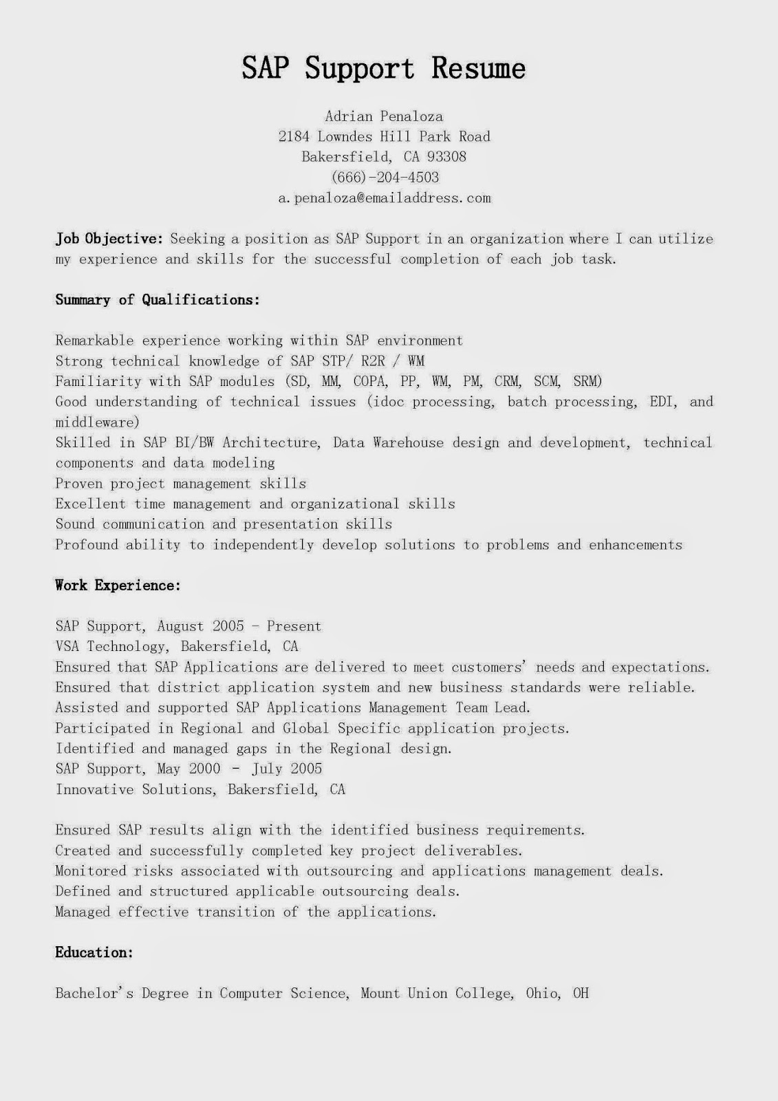 resume samples sap support resume sample