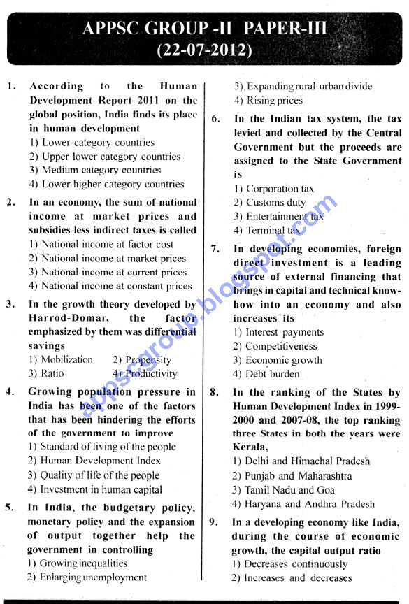 Appsc group 2 previous question papers with key, 2012 Group 2 Paper with Solutions