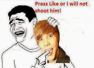 Press LIKE or I will not shoot him - meme