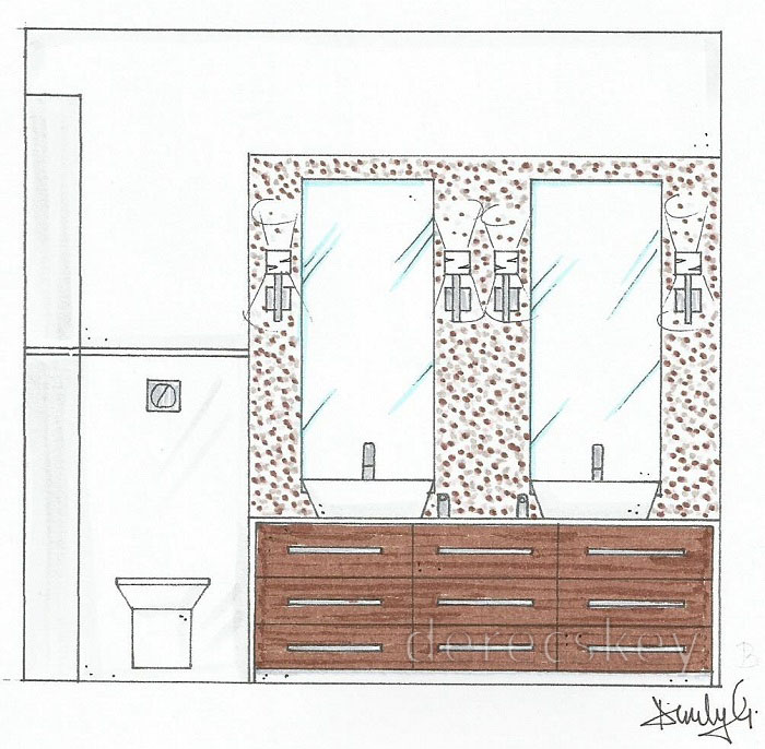 derecskey: Szülői fürdőszoba - lakberendezési terv
