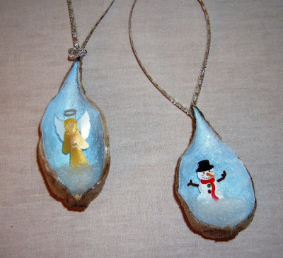 Painted milkweed pod ornaments 1