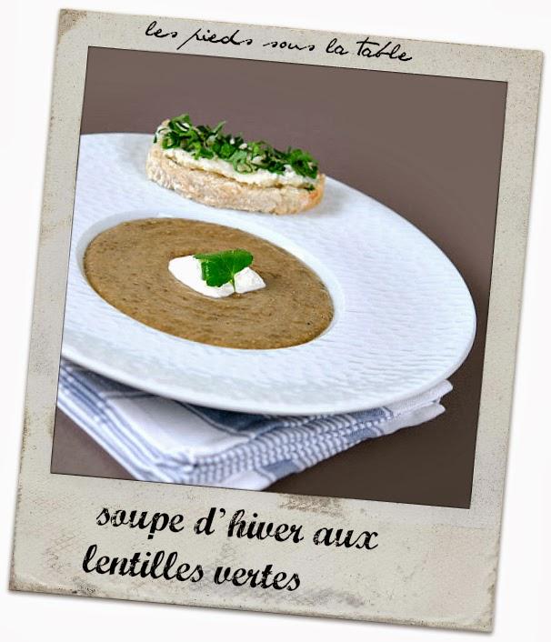 soupe d'hiver aux lentilles vertes