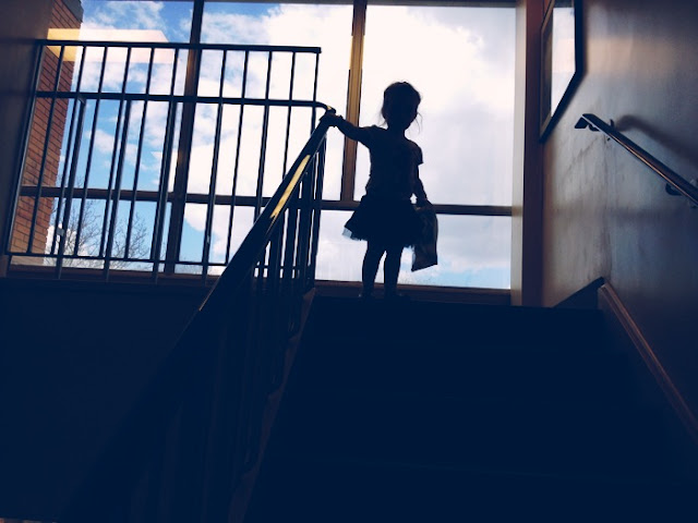 Toddler on a staircase