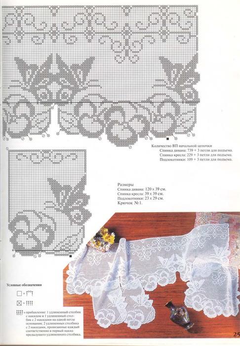 Вязание крючком скатерти и занавески