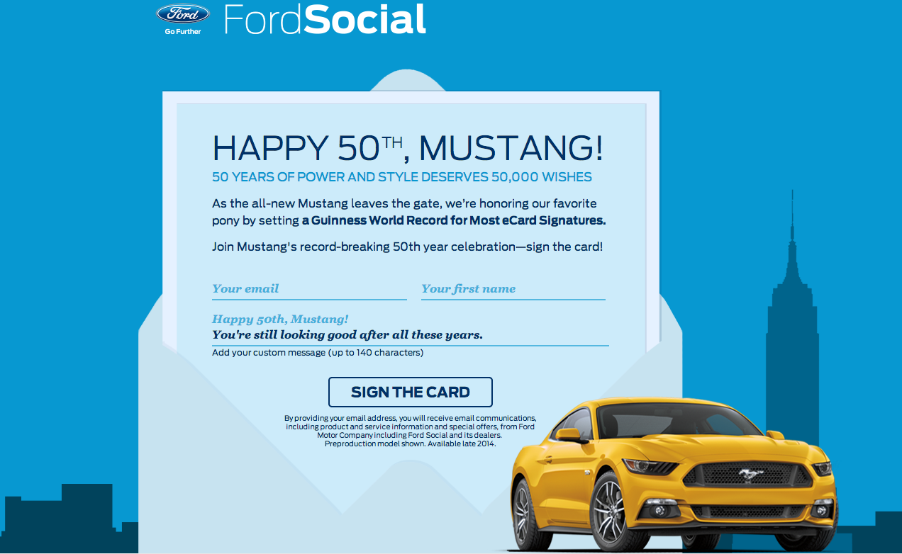 Ford Looking to Set World Record with Signatures on Ford Mustang Birthday Card