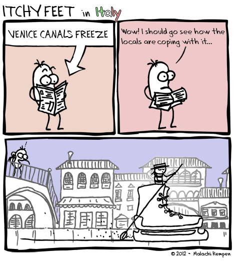 when the canals in venice freeze, the venetians make do