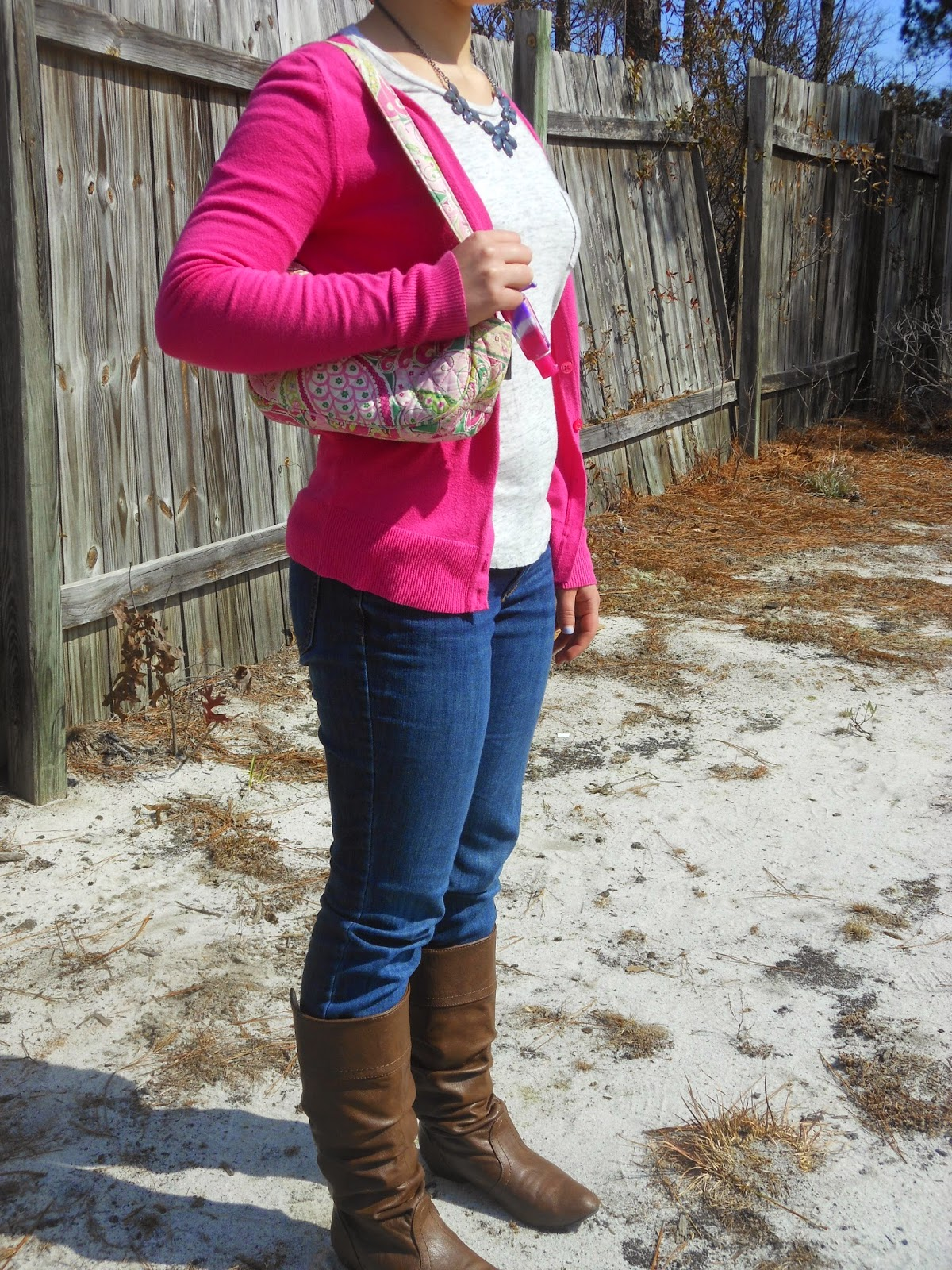 Pink and Grey Monday. Relaxed tee, pink sweater, jeans, grey statement necklace, brown riding boots, Vera Bradley purse.