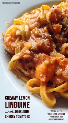 linguine, tomatoes, tomato, pasta, dinner, recipe, creamy, lemon, sauce