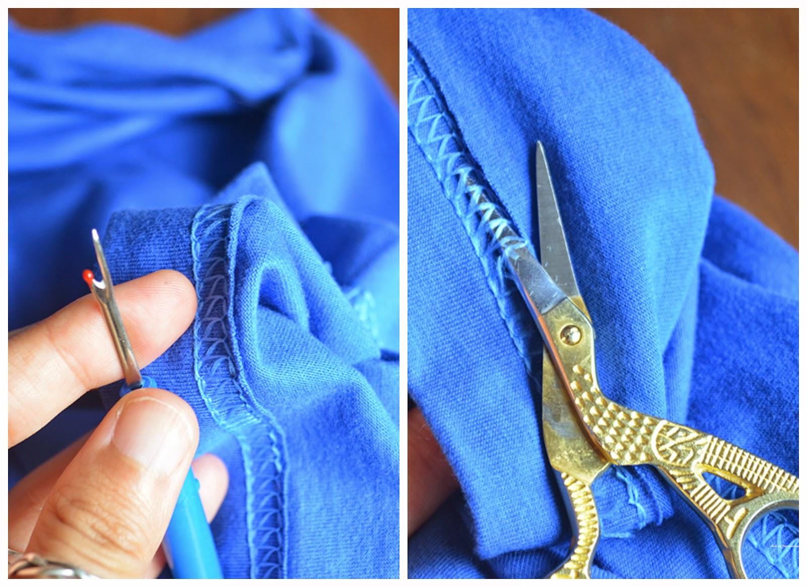 Abrindo a costura para a Camiseta Customizada com Renda