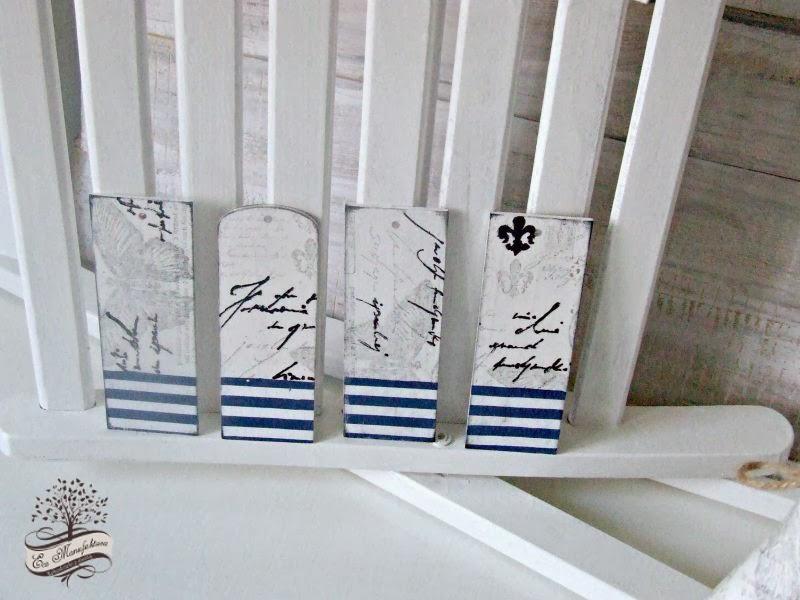 zakładki do książki z motywem marynarskim i motylem decoupage