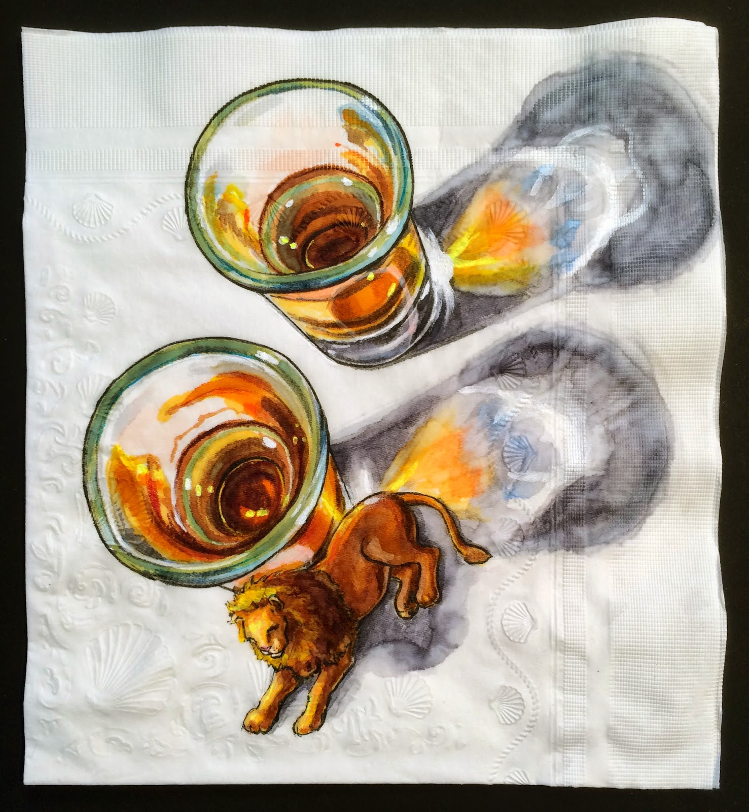 http://ninaslevy.blogspot.com/2014/03/cocktail-napkin-with-lion-for-scale.html